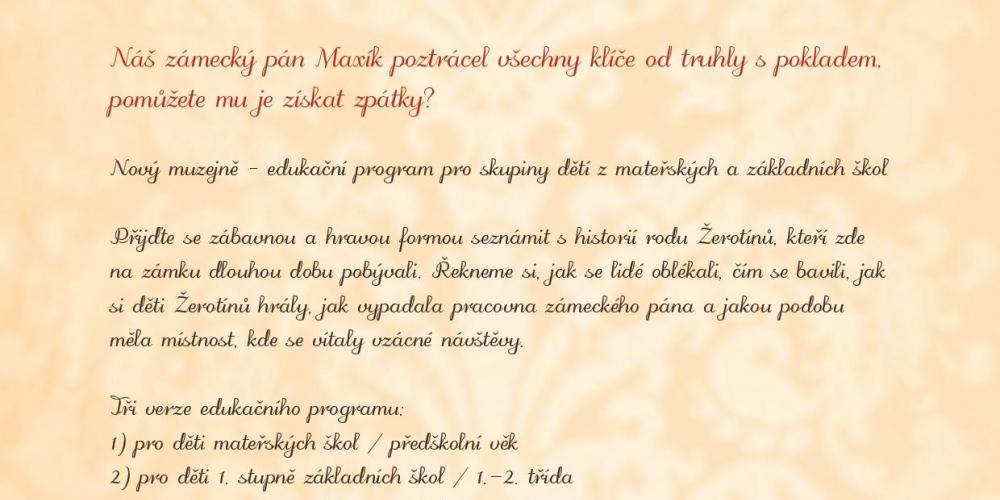 Nový edukační program MAXÍKOVY TRAMPOTY